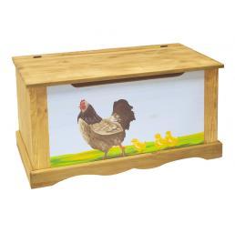 Сундук с росписью (курица с цыплятами) с фоном