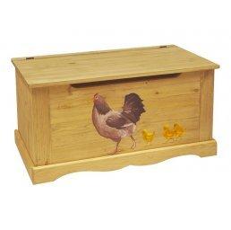 Сундук с росписью (курица с цыплятами)
